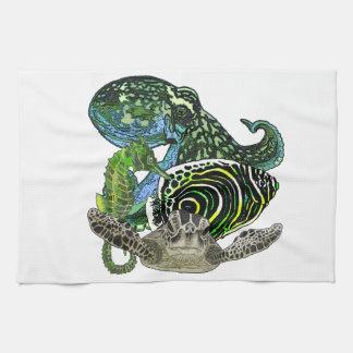 Marine life tea towel