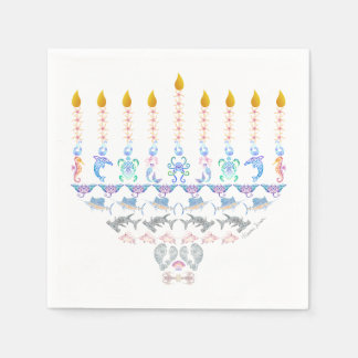 Marine Menorah Disposable Serviettes