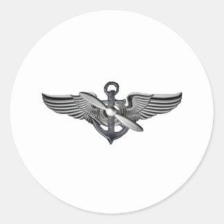 marine pilot wings round sticker
