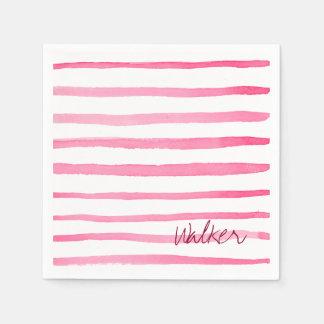 Marine Red and White Stripe Watercolor Paper Napkin