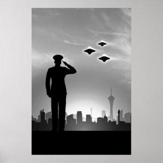 Marine saluting UFO print