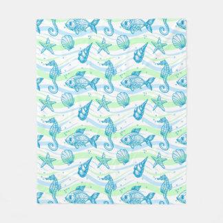 Marine Sketch Pattern Fleece Blanket