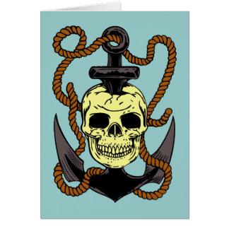 Marine Skull Tattoo Greeting Cards