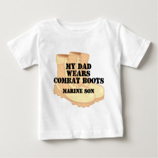 Marine Son Dad Desert Combat Boots Tshirt