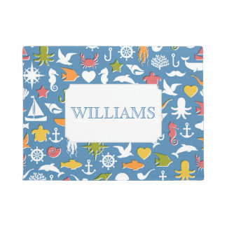 Marine Symbols Pattern | Add Your Name Doormat