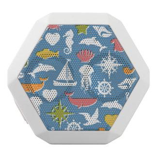 Marine Symbols Pattern White Bluetooth Speaker