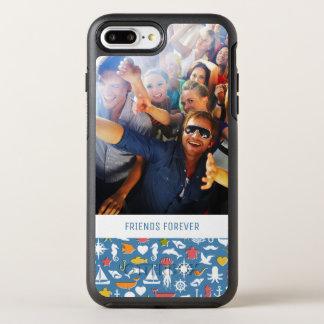 Marine Symbols Pattern   Your Photo & Text OtterBox Symmetry iPhone 8 Plus/7 Plus Case