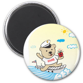 Marine Teddy 6 Cm Round Magnet