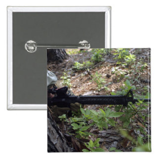 Marine uses a tree for cover and concealment 15 cm square badge