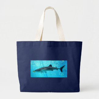 Marine Water Chic Stylish Cool Blue Whale Shark Large Tote Bag