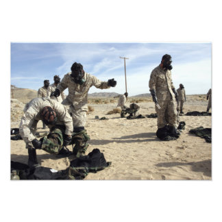 Marines and Sailors assist each other Photo Print