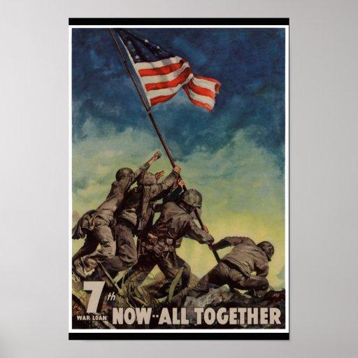 Marines at Iwo Jima Vintage Poster