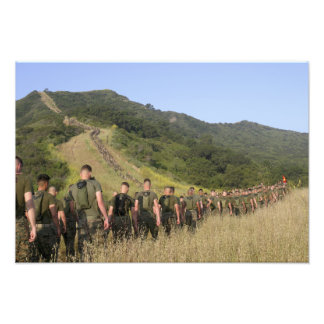 Marines hike their way to a memorial site photo print
