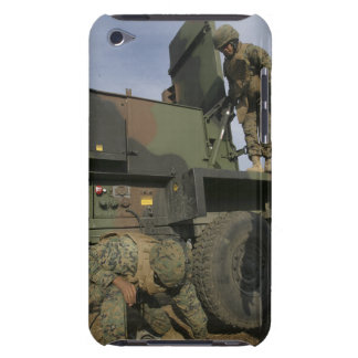 Marines prepare the antenna of an AN/TPQ-46A iPod Touch Case-Mate Case