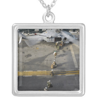 Marines prepare to board an MH-60S Silver Plated Necklace
