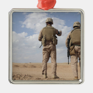 Marines scan the horizon for insurgent activity christmas ornament