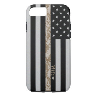 Marines Thin Desert Camo Wife Line Flag iPhone 7 iPhone 8/7 Case