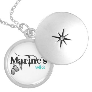 Marine's Wife Round Locket Necklace