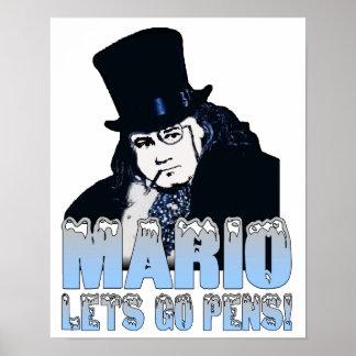 Mario Penguin Hockey Poster
