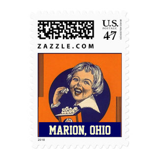 Marion Ohio OH popcorn girl vintage color Stamps