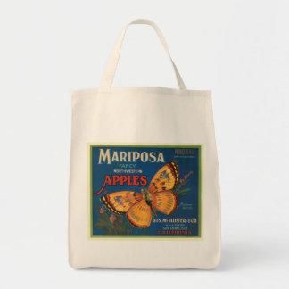 Mariposa Apples Fruit Crate Label Grocery Tote Bag