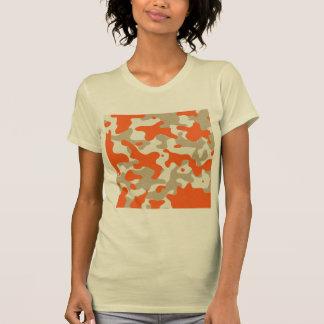 marisaL-camo013 ORANGE TAN BEIGE CAMOUFLAGE PATTER T-Shirt