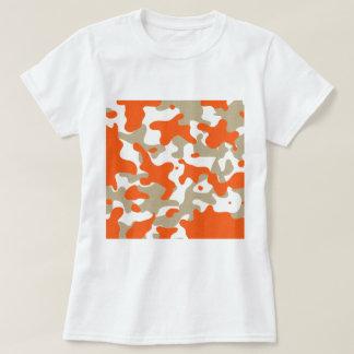 marisaL-camo013 ORANGE TAN BEIGE CAMOUFLAGE PATTER Tee Shirt