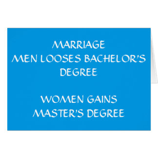 MARITAL HUMOR ON ***YOUR WEDDING DAY*** CARD
