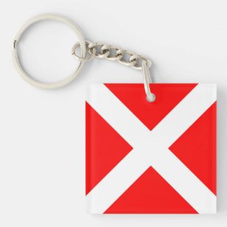 maritime alphabet signal flag number four 4 letter Single-Sided square acrylic key ring