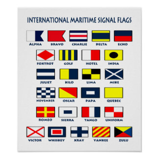 Maritime Flags International Signs Poster