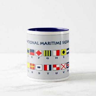 Maritime flags Two-Tone coffee mug