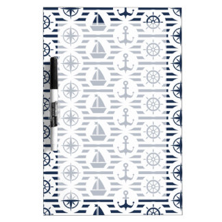 Maritime In Blue Pattern Dry Erase White Board