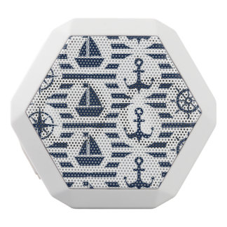 Maritime In Blue Pattern White Bluetooth Speaker