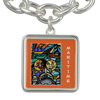 Maritime On Orange - Time Pieces Bright Colors