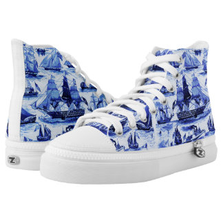 MARITIME,VINTAGE SHIPS,SAILING VESSELS,Navy Blue Printed Shoes
