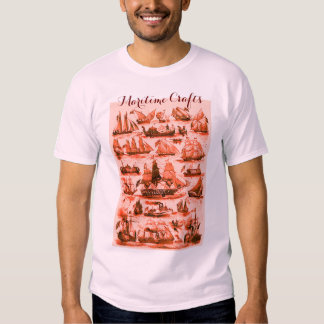 MARITIME ,VINTAGE SHIPS,SAILING VESSELS,Red Pink T Shirts