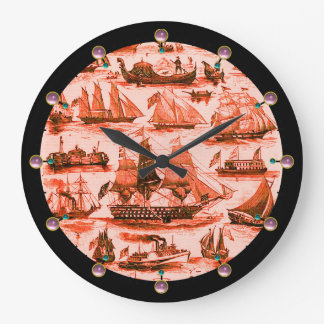 MARITIME,VINTAGE SHIPS,SAILING VESSELS, Red White Wallclock