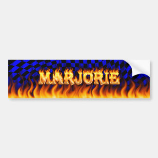 Marjorie real fire and flames bumper sticker desig