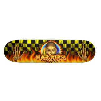 Marjorie skull real fire and flames skateboard des