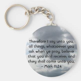 Mark 11:24 - Faith Basic Round Button Key Ring