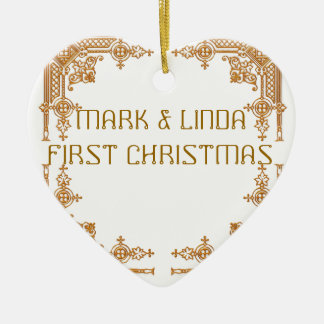 MARK AND LINDA FIRST CHRISTMAS CERAMIC HEART DECORATION