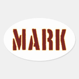 Mark in Military Style Stencil Oval Sticker