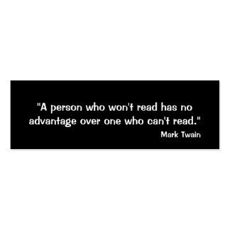 Mark Twain Bookmark Business Card Templates