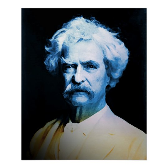 Mark Twain in Blue Poster