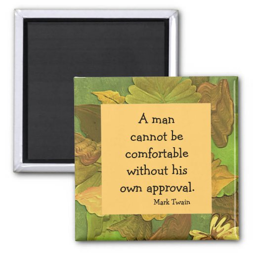 Mark Twain quotation magnet with leaf frame