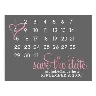 Mark Your Calendar Wedding Save The Date Postcard