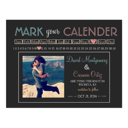 """Mark your Calender"" Save the Date Postcard"