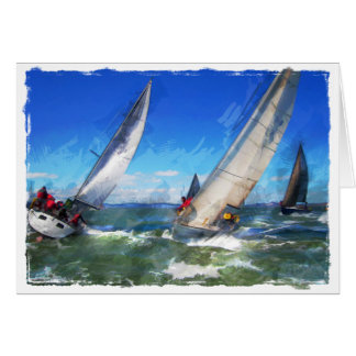 Marker Sketch of Turning Yachts in Rough Seas Card