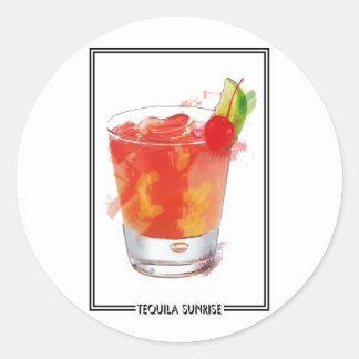 Marker Sketch Tequila Sunrise Cocktail Round Stickers