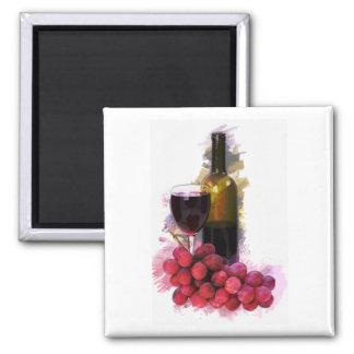 Marker Sketch, Wine Glass, Bottle, Grapes Refrigerator Magnets